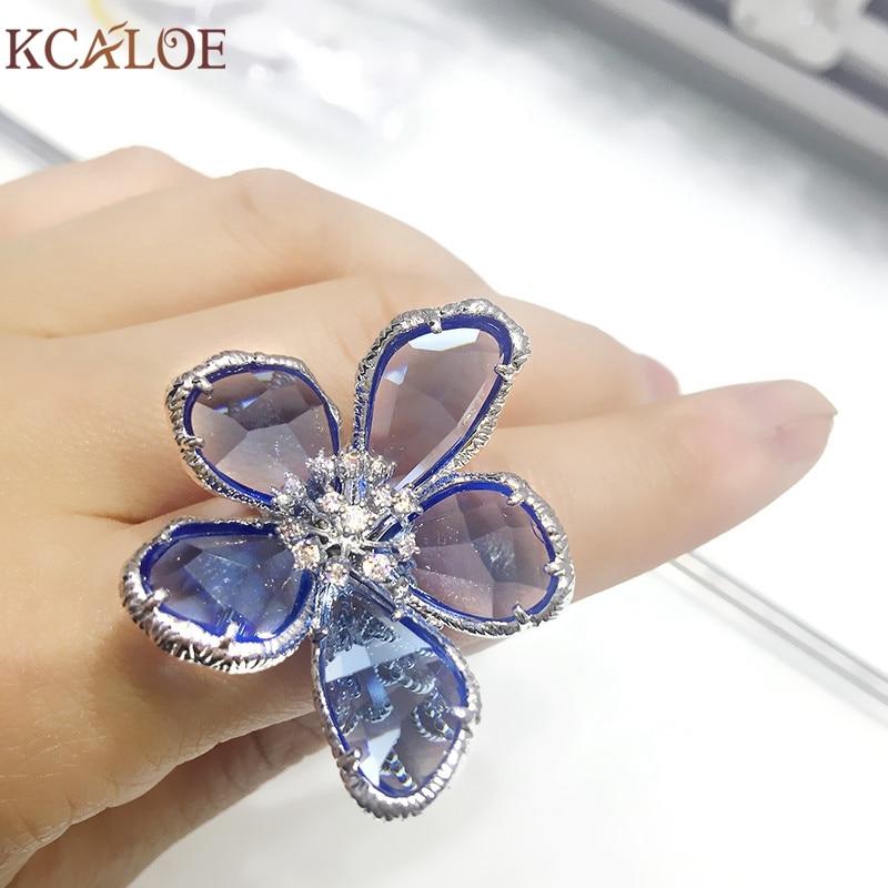 KCALOE Lyx Blå Transparent Crystal Stora Blommor Ringar För Kvinnor - Märkessmycken - Foto 2