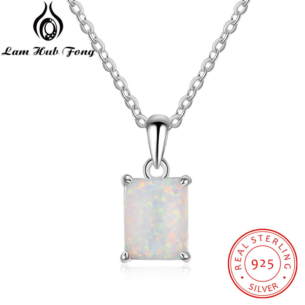 Geometric Style 925 Sterling Silver Pendant Necklace Rectangular White Opal Necklaces for Women Mother Day Gift (Lam Hub Fong)