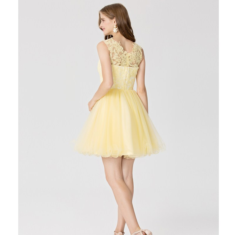 25b29bcf45 TS Couture Ball Gown Fit   Flare Bateau Neck Short   Mini Tulle Cocktail  Party Dress with Appliques