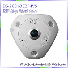 fast free shipping Multi language Version 12MP Fisheye Network Camera , 360 view angle ,DS-2CD63C2F-IVS Audio/Alarm IO/ RS485
