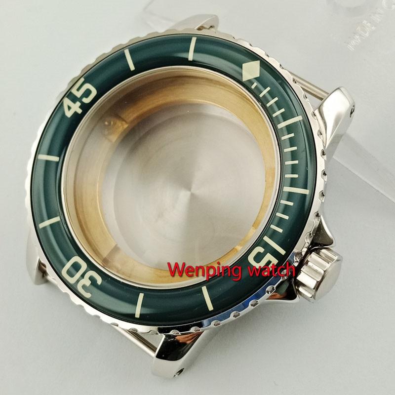 Corgeut 45 มิลลิเมตร Sapphire glass นาฬิกา housing นาฬิกาพร้อม bezel fit ETA2836, miyota 8215,8205 การเคลื่อนไหวอัตโนมัติ p830-ใน กล่องนาฬิกา จาก นาฬิกาข้อมือ บน   1