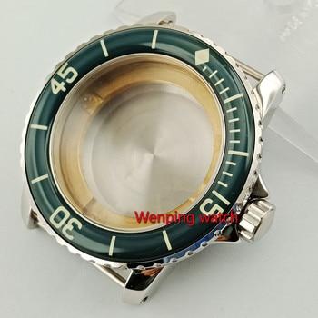 Corgeut 45mm Sapphire glass watch housing WATCH CASE with bezel fit ETA2836, miyota 8215,8205 automatic movement p830