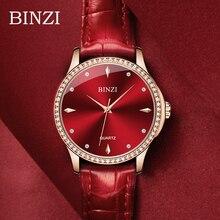 Red Womens Watch BINZI Brand Luxury Ladies Dresses Leather Quartz Wrist Watches Rhinestone Diamond Female Reloj Gift