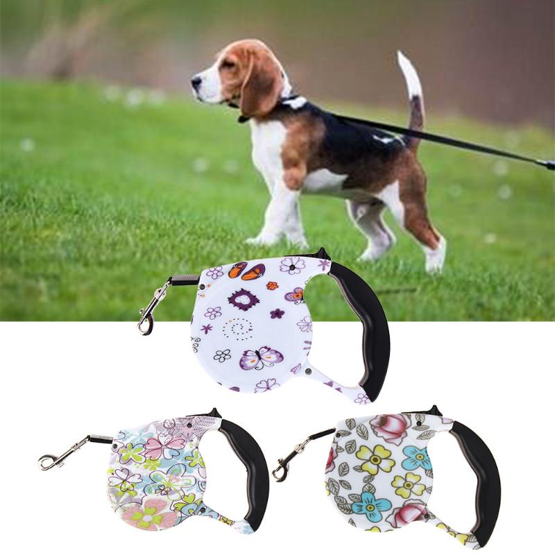 Dog Collars & Leads 5m Retractable Adjustable Dog Leash Floral Printed Automatic Lead Walking Leash For Dogs Small Medium Pets Dog Products Elegant And Graceful Home & Garden