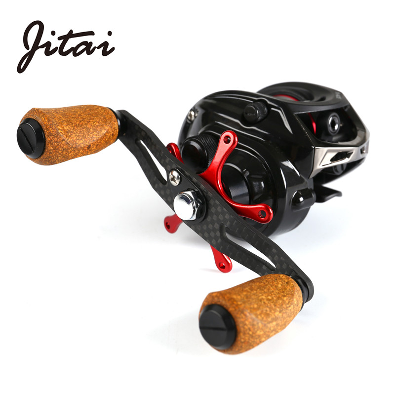 JITAI Baitcasting Fishing Reel Extended Carbon Handle Cork Knobs Aluminum Metal Spool Lightweight Carretilha Wheels Coils