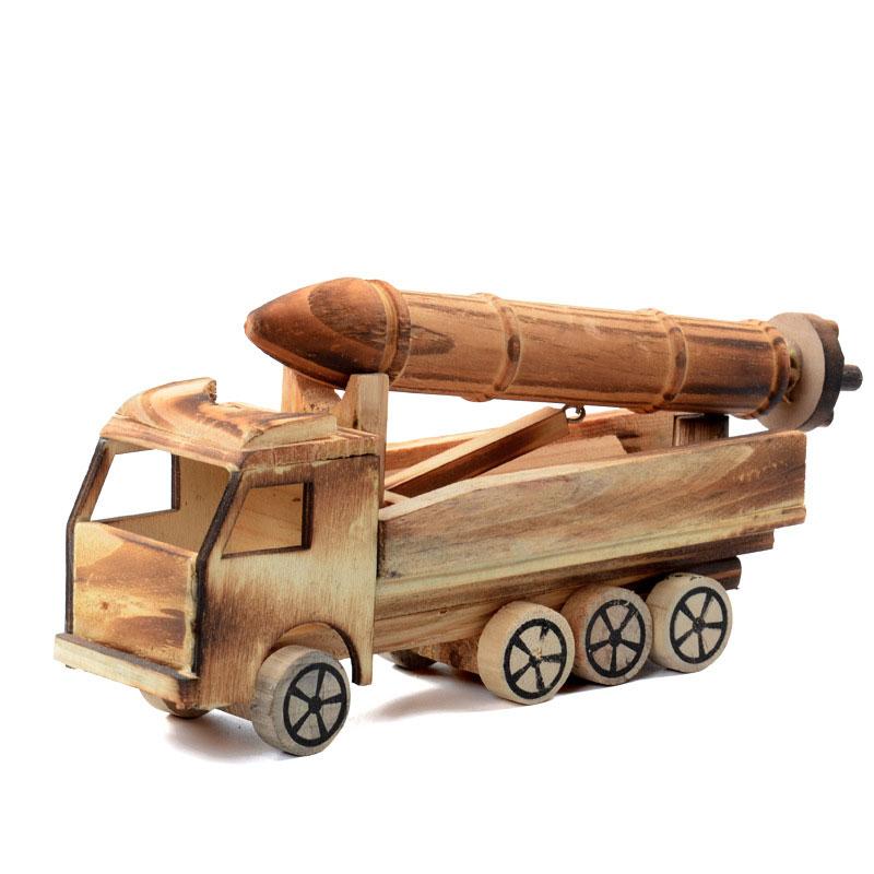 Wooden Simulation Missile Car Model Kids Children Toys Decor Crafts Collectable