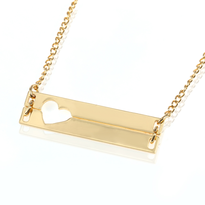 Greatest Duoying Double Bar Necklaces Hollow Love Personalized Engraved  RQ37
