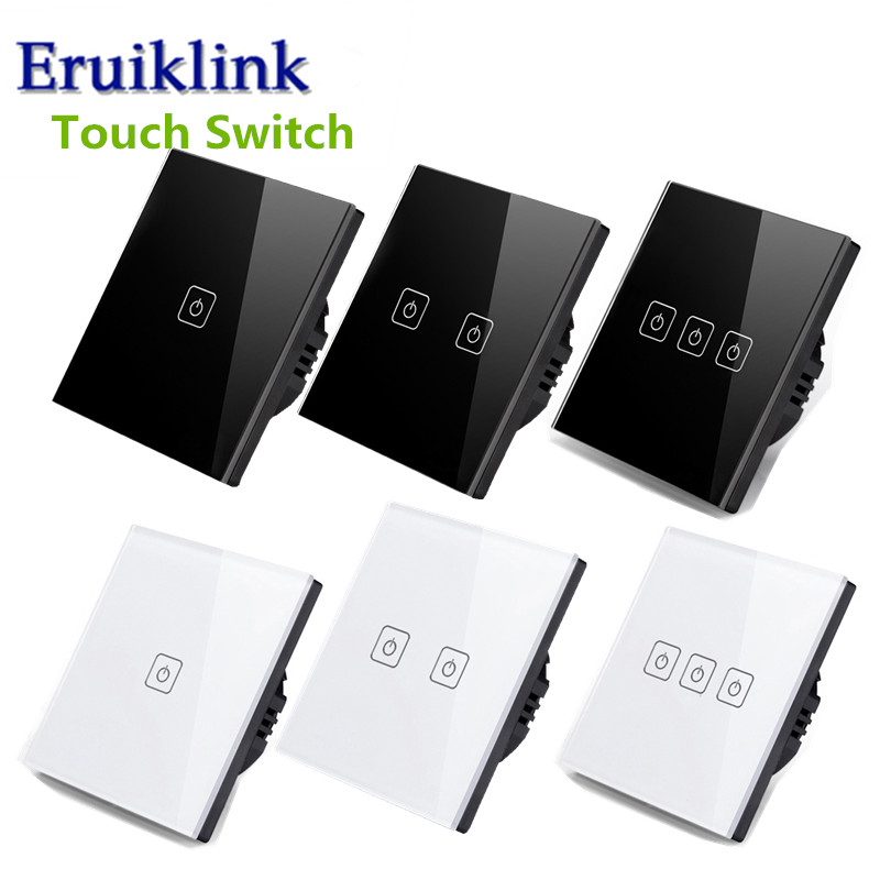 EU/UK Standard Light Wall Switch,1/2/3 Gang 1 Way Touch Screen Switch,Crystal Glass Panel Single Fireline Sensor Switch touch eu uk standard touch switch 3 gang 1 way crystal glass switch panel remote control wall light touch switch eu ac110v 250v