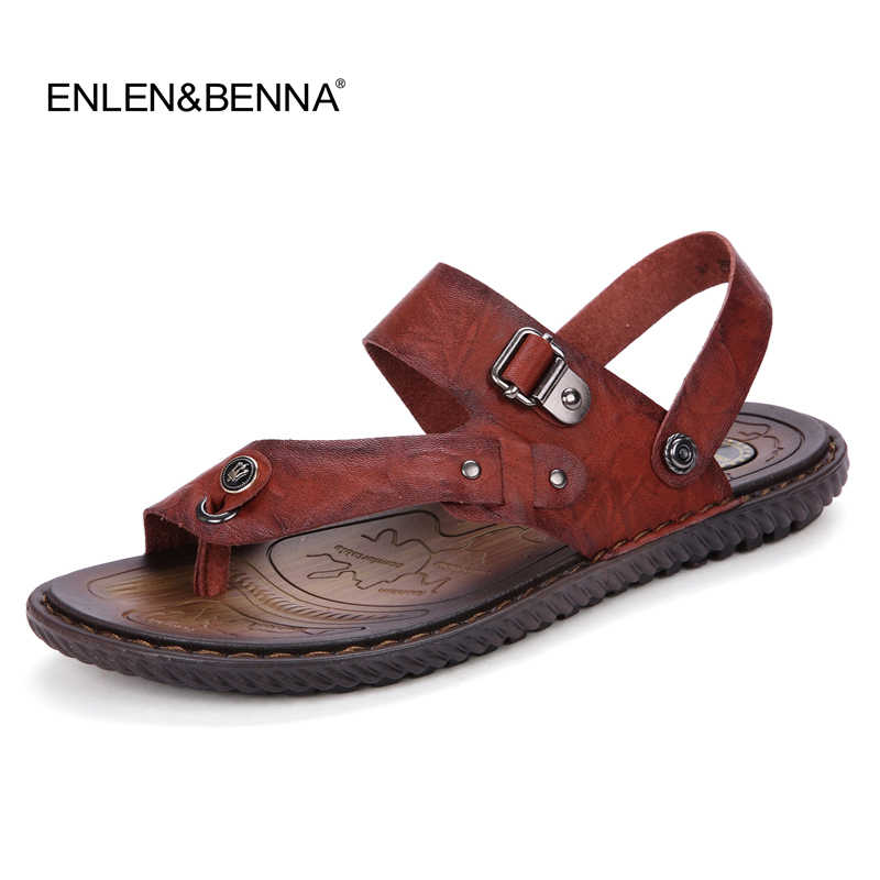 db6e1e6720914 2016Summer New Men s Leather Sandals Men s Fashion Cool Slippers Male  Casual Beach Flat With Sandals Flip