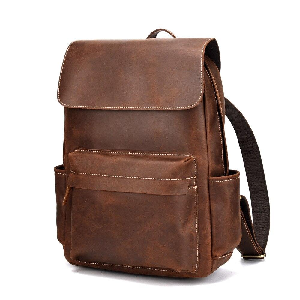 Leder Student Rucksack dark Männer 100 Reisetasche Retro Backpackslarge Coffee Schicht Brown Echtem Kapazität Tasche Top Rinds HpzUUn5