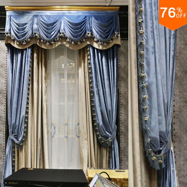 Grey Blue Sky Shallow Bed Room Hook Style With Valance Curtain For Luxury Study