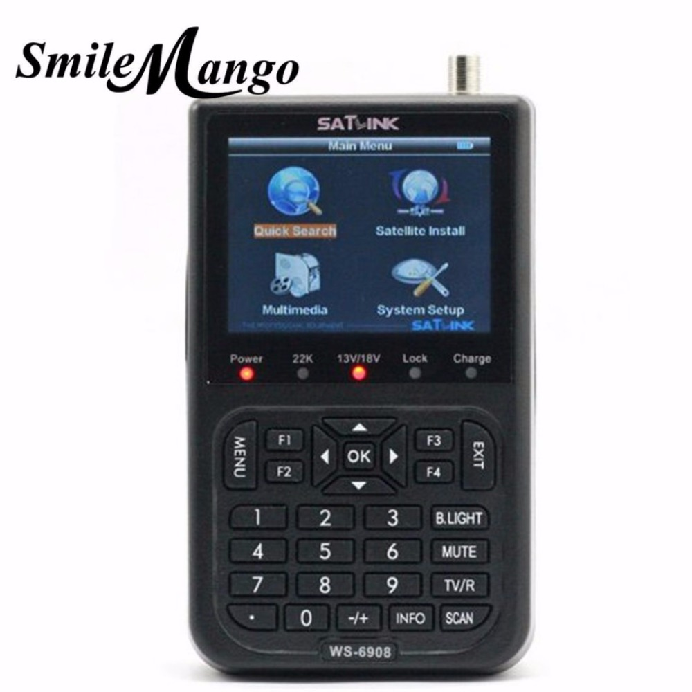 2017Hot Selling Original Satlink WS-6908 3.5 LCD DVB-S FTA Digital Satellite Signal ws 6908 satellite Finder Meter free shipping satlink ws 6906 dvb s fta digital satellite signal meter satellite finder supports diseqc 1 0 1 2 qpsk