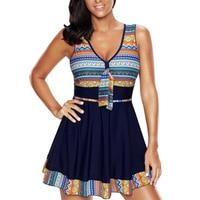 Plus Size One Piece Swimsuit Women Swimwear Push Up Padded Skirt Dress Bathing Suit Large Size