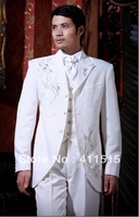 free shipping 2013 wedding groom wear tuxedos white for men custom made wool suits men dress