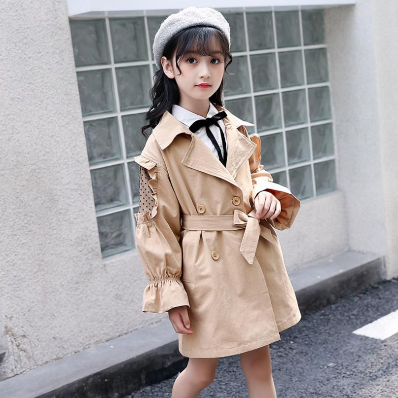 Girls Windbreaker Jacket 2019 Autumn Children Fashion wooden ear cotton   Trench   Coat Outerwear Jackets modis Kids Clothing Y1608