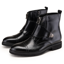 Fashion front zipper black motorcycle boots mens ankle boots genuine leather winter mens boots outdoor casual shoes with buckle