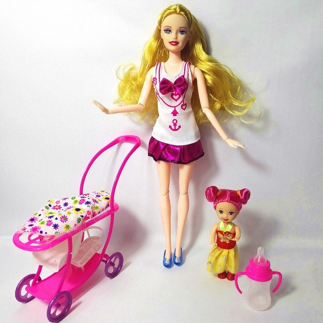 2017 Baby Stroller For Barbie Doll Children Play House Sets Furniture  Fashion Doll For Kelly Doll