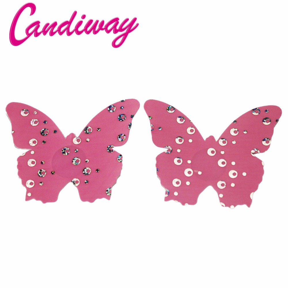 Candiway font b Women b font Pink Butterfly Breast Petals Sexy Bra Adhesive Nipple Cover Disposable