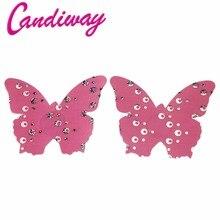 Candiway Mulheres Borboleta Rosa Pétalas de Mama Colar No Peito Intimates Sexy Sutiã Adesivo Tampa Do Bocal Descartável Verão Venda Quente