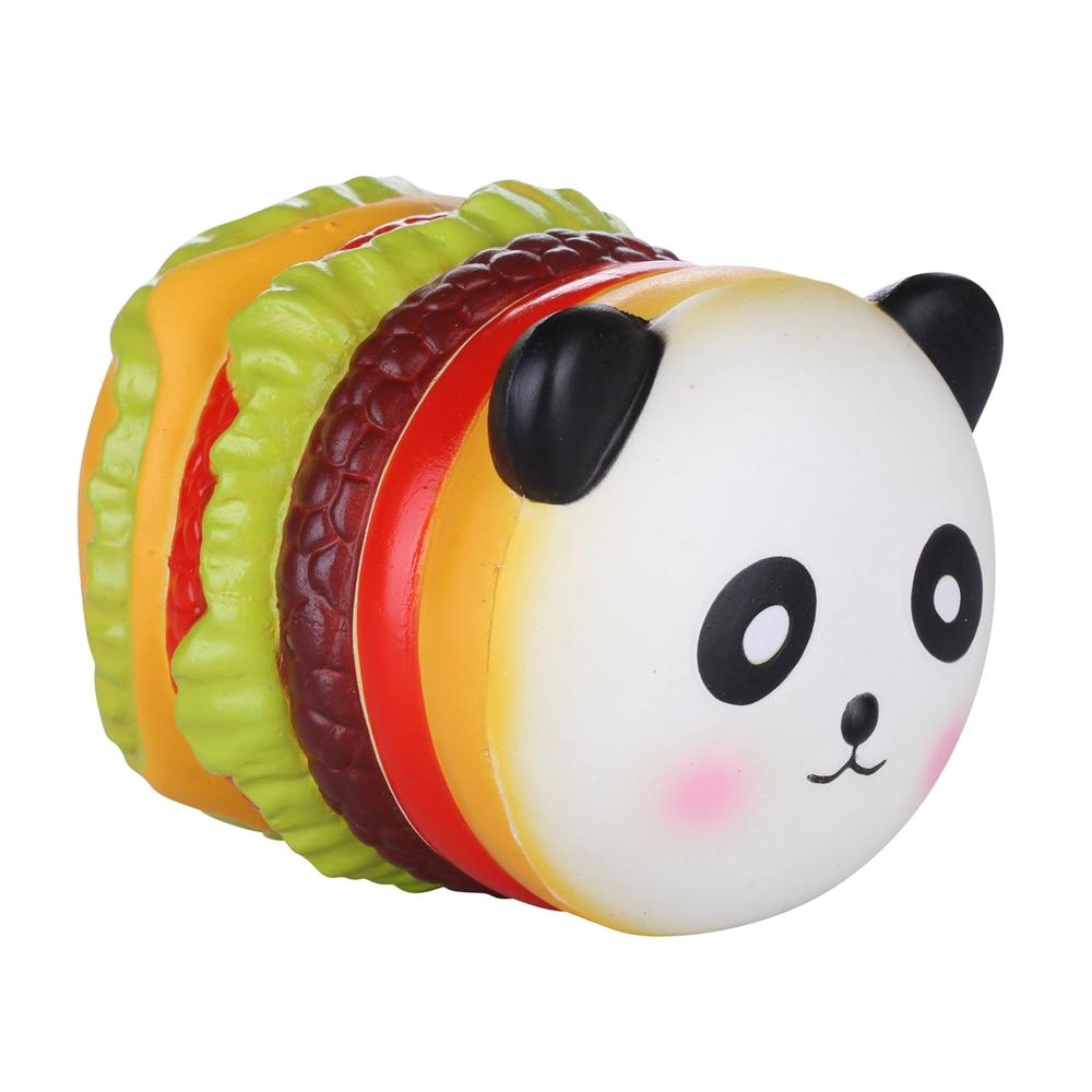 Panda Hamburger Squishys 10Pcs / Lot Új Lassú emelkedő Jumbo Squishy Játékok PU Foam Stresszoldás Játék Squishies Kawaii Licensed 10CM