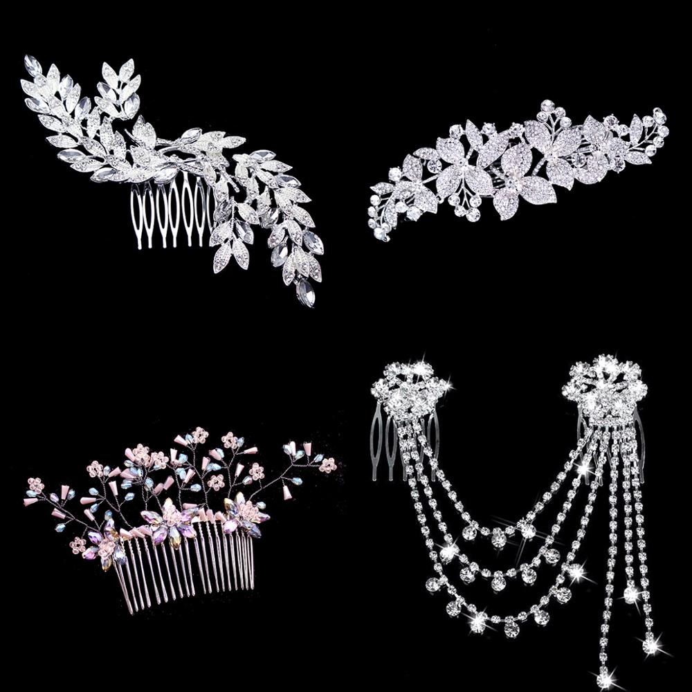 Rose Gold Pink Plant Bridal <font><b>Headpiece</b></font> Leaf Flower Crystal Pearl <font><b>Wedding</b></font> <font><b>Hair</b></font> Combs <font><b>For</b></font> Pearl Women Bride Headdress <font><b>Accessories</b></font> image