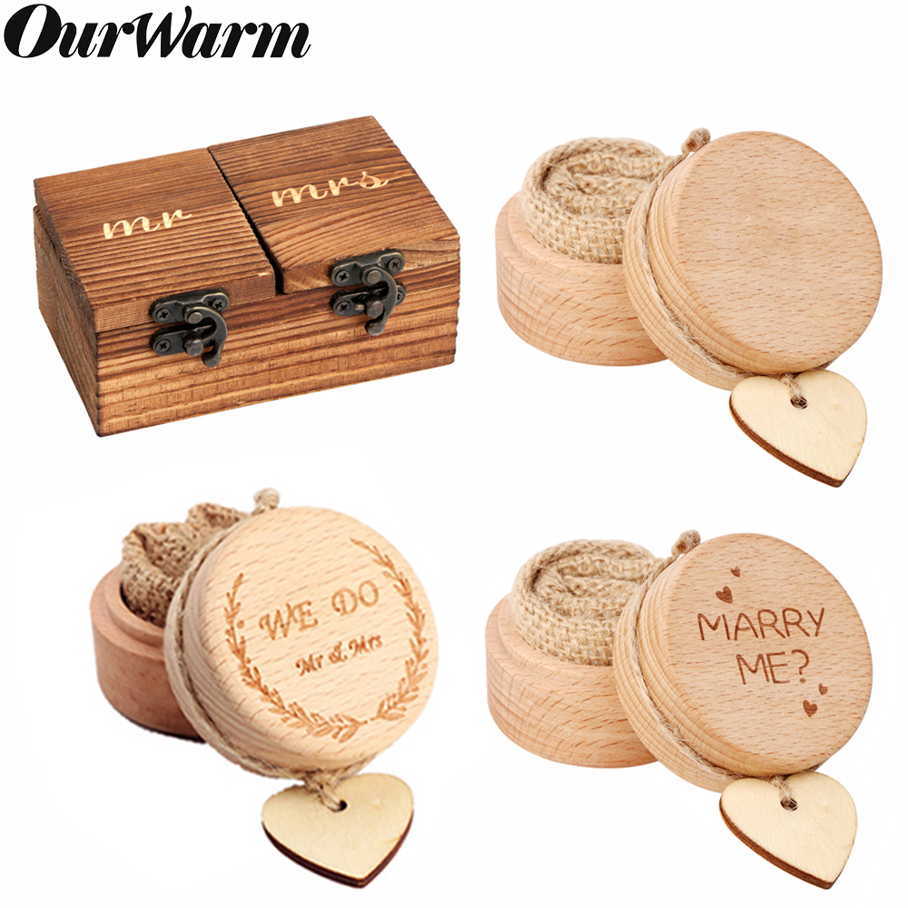 OurWarm Wood Ring Box Rustic Wedding Ring Bearer Box Holder Natural Wooden Box Vintage Decor Anniversary Valentine's Day Gifts