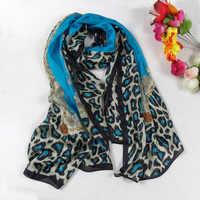 女性ブルーヒョウ柄シルクスカーフ延長ショールプリント 2014 ファッションアパレルアクセサリーブランドロング桑絹のスカーフ