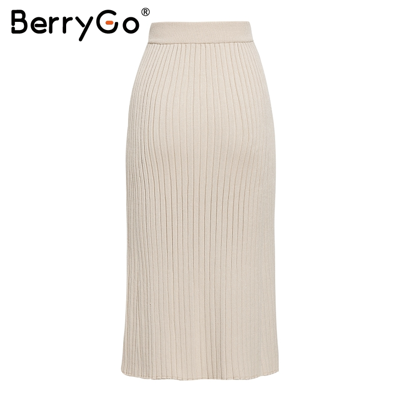 Image 5 - BerryGo Vintage bodycon knitted skirts women Buttons a line striped midi skirts female Elegant office ladies pencil skirts 2019Skirts   -