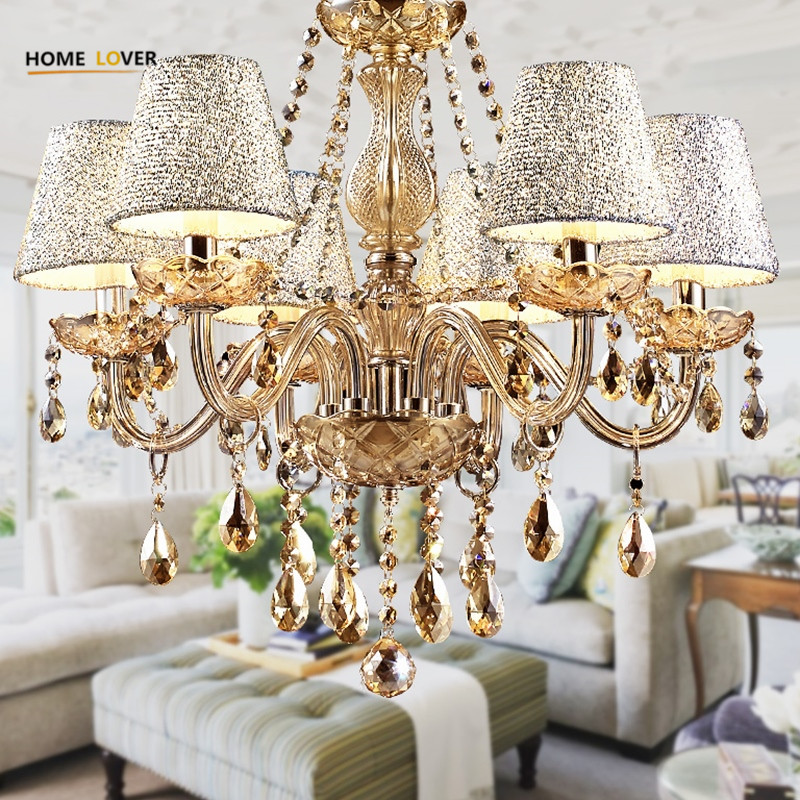 2017 Hot Lustre para sala Luxurious European Style Chandelier 6 Arms Diameter 58cm Living Room Luxury Lamp lustre para quarto