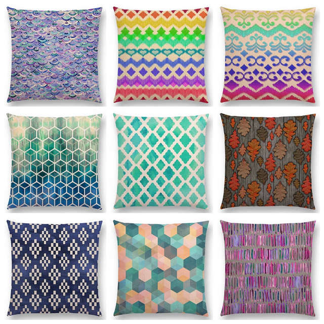 Charmant Blue Lace Moroccan Colorful Geometric Patterns Tribal White Rectangle  Prints Cushion Cover Car Home Decor Sofa