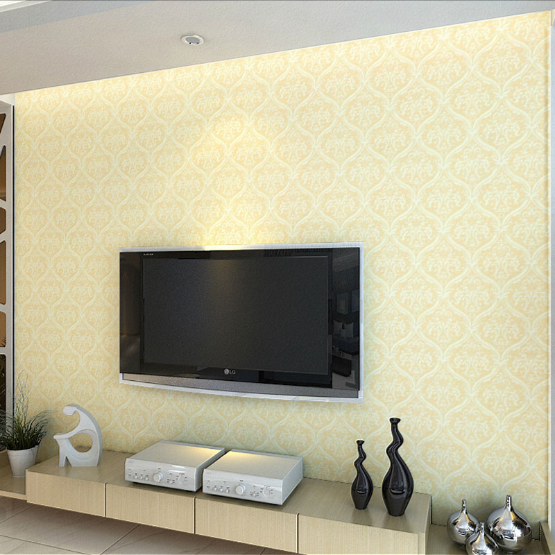 PVC wallpaper wall paper study Roman holiday Classic Damascus embossing technology foaming process environmental printing ink