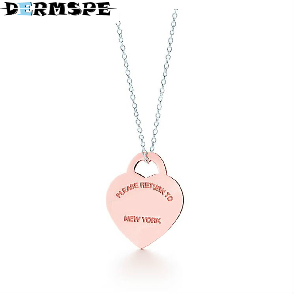 DERMSPE TIFF Heart Shaped Lock Rose Gold Pendant Necklace in Sterling Silver Fashionable Clavicle Necklace Gifts Accessories yldz001 fashionable moon shaped rhinestone inlaid pendant necklace golden transparent