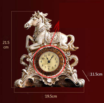 Classical Home Decoration Table Clock Crafts Rich Horse Decoration Living Room Desk Clock Creative Nostalgic Metallic Mute Clock