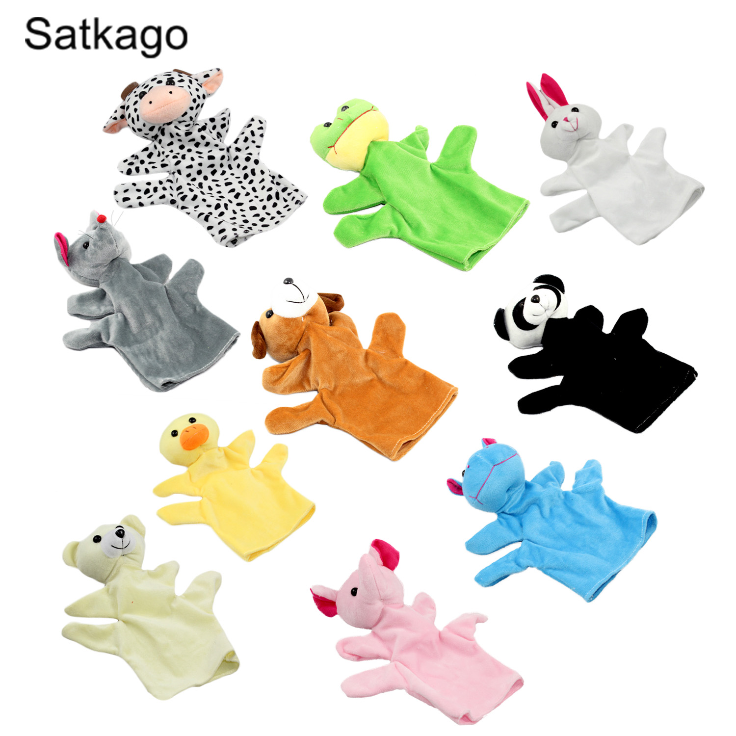 Satkago 10 PCS Assorted Animal Styles Kids Hand Puppets Doll Toys for Imaginative Play Puppet Show Parent-child Interaction