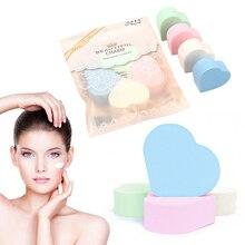 4 шт сердце-образная затяжка спонж для макияжа основа гладкое влажное и сухое использование для нанесения всех типов косметических средств