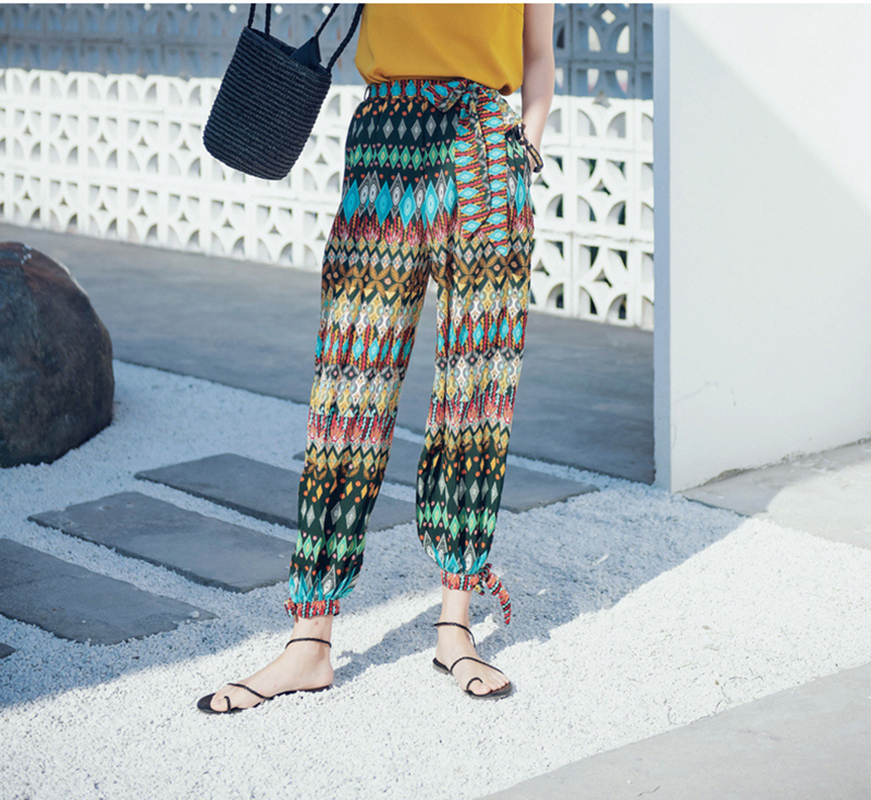 2019 Spring and summer new style Bohemian beach holiday trousers Harem pants Women Loose trousers