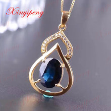 Ms 18 k gold inlaid natural sapphire pendant Dark blue gems 3 carat Mother girlfriend a gift fine jewels