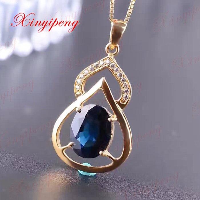 Ms 18 k gold inlaid natural sapphire pendant Dark blue gems 3 carat Mother girlfriend a gift fine jewels