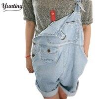 Kadın sevimli kot tulum Kore tarzı casual tulumlar Gevşek cep jeans şort Ücretsiz kargo