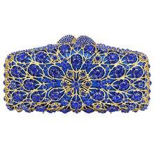 Gold legierung Blau kristall Diamant Abendtasche Fest Party Hochzeit brautjungfer Handtasche mit Kette Bling Handtasche SC435