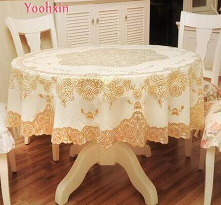 Round Gold PVC Plastic Waterproof Tea Table Cloth Cover Oil Cloth Lace  Christmas New Year Xmas