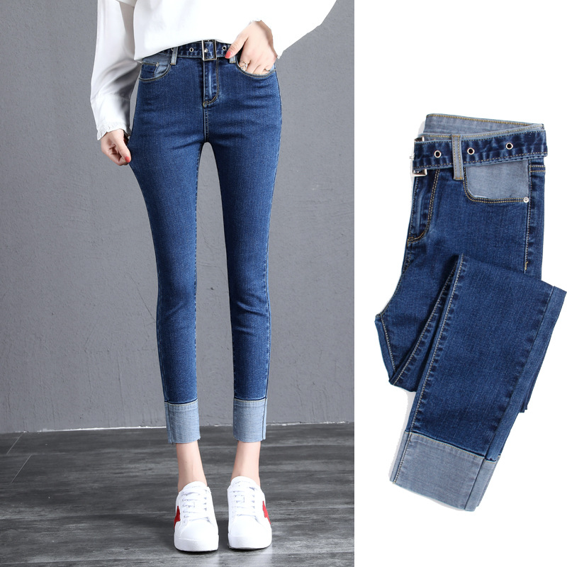 Autumn New Women   Jeans   High Waist Belt Ankle-Length Pants Slim Elasticity Casual Cuffs   Jeans   Contrast Trousers Female Clothing