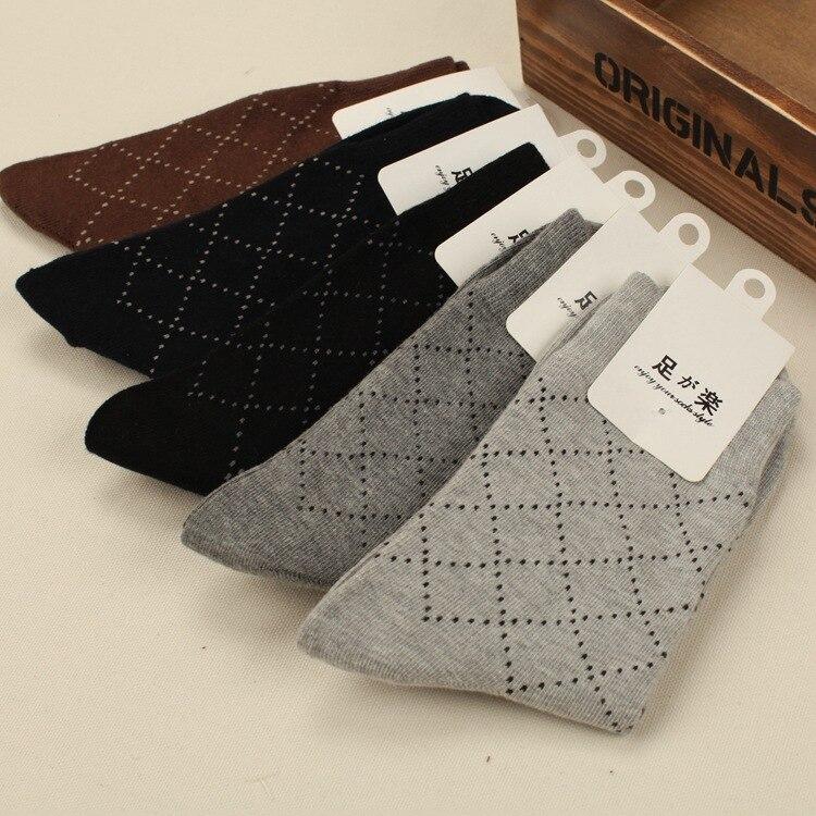 Mens Business Plaid Print 5 Colors Combed Cotton Short Socks ZDL057