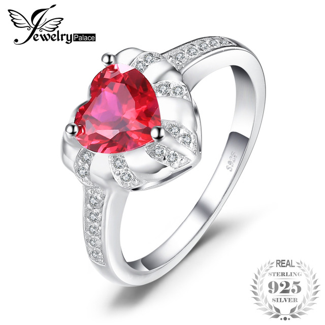 JewelryPalace Love Heart 1.86ct Created Red Ruby Engagement Rings For Women Char