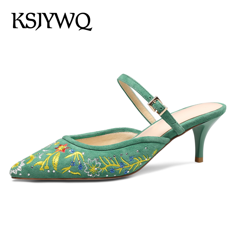 KSJYWQ Summer Style Women Mules 5.5 CM High Heels Green Leather Pointed-toe Slippers Sexy Ladies Party Pumps Box packing 1581 ksjywq plus size women red pumps slip on summer dress shoes 10 cm high heels sexy pointed toe woman stilettos box packing 1259 1