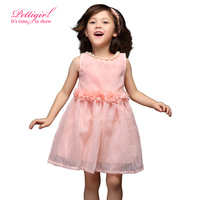 Pettigirl 2016 New Girl Dresses Pink Chiffon Flower  Sashed Kids Dresses with Pearl Collar Children Clothing  GD50312-1