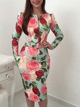 2019 women's sleeves floral print belt zip summer dress, long sleeve print bag hip female dress robes female vestidos de verano