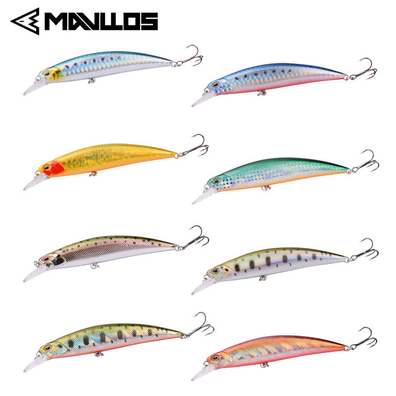 Mavllos Long Shot Sink Fishing Bait Lure 95mm 15g Professional Minnow Fishing Bait Suitable For Casting Hard Bait Fishing Lure allblue new jerkbait professional 100dr fishing lure 100mm 15 8g suspend wobbler minnow depth 2 3m bass pike bait mustad hooks