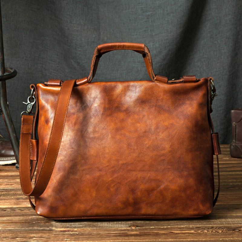 NEW Genuine Leather Coffee Men Briefcase 13 inch Laptop Business Totes Cowhide Men's Messenger Bags Luxury Lawyer Handbags