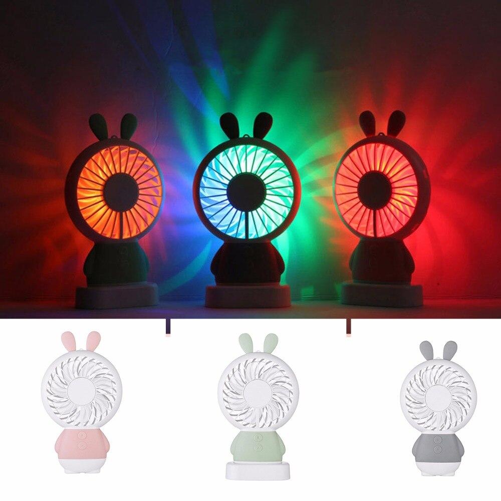 SOONHUA Portable USB Fan Handheld Cartoon Rabbit Bear Cooler Mini Fan With Colorful Light Handy Small Desk Desktop Cooling Fan